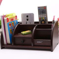 XINGLI Multi-Functional Big Wooden Desk Organiser/Pen Stand/Card Holder with Drawer for Office and Students use - Mobile Holder for Desk