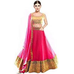 BRAND JUNCTION Women's Soft Net Semi-Stitched Embroidered Lehenga Choli With Dupatta - Carrot Red