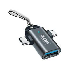 SMM 2 in 1 Type C & Micro OTG Male to USB A 3.0 Female Compatible for Samsung Galaxy A50 Fast Data Transfer for Laptop Mobiles Tablet Smartphone