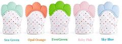 Cute and Soft Teething Mitten Silicone Soothing Teether (3. Opal Orange-1 Pair)
