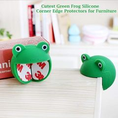 Kidsafe Cutest Green Frog Silicone Corner Edge Protectors for Furniture| Pre Taped Corner Protectors for Child Safety| Pack of 2