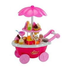 EY CATCHING Ice Cream Play Cart Kitchen Set Toy with Lights and Music, Small
