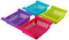 Ethnic Forest Plastic Refrigerator Storage Rack Set, Set of 4, Multicolour