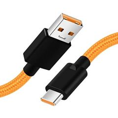 T3S Warp Charge Type-C Cable 5V 6A Warp Charger Cable Nylon Braided USB C Dash Charging Cable Compatible with Mclaren OnePlus 7 Pro/ 7, 6T/ 6, 5T/ 5, 3T/ 39 (1 Meter (Orange and Black))