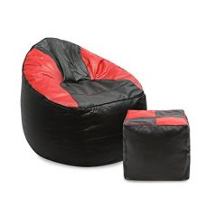 VSK Combo XXXL Sofa Mudda Bean Bag Cover with Round Footstool/Puffy (Without Beans) - Black & Red
