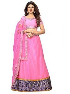 BRAND JUNCTION Women's Ban-glory Semi-stitched Embroidered Lehenga Choli With Dupatta - Pink/Blue