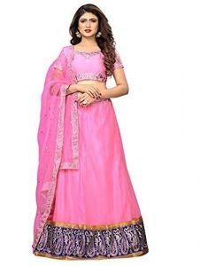 JANKISILKMILL Women's Ban-Glory Semi-Stitched Embroidered Lehenga Choli With Dupatta - Pink/Blue