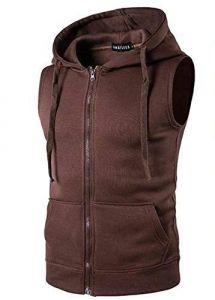 Fashion Gallery Men's Jackets for Winter| Fleece Sleeveless Hooded Sweatshirt Jacket|Men's Casual Jacket, Large