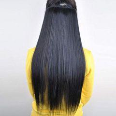Akashkrishna Women's 24 Inch 5 Clip Hair Extension (Black)