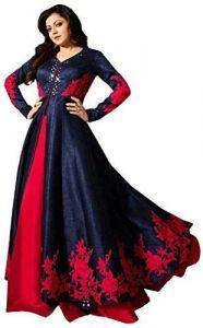 JANKISILKMILL Super Satin Semi-Stitched Embroidered Anarkali Kurtis With Dupatta - Blue/Red