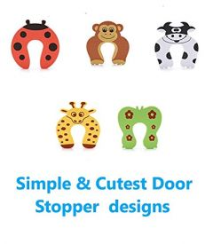 Kidsafe (Set of 5) Door Stopper Cartoon for Kids and Baby Safety Pinch Guard and Accidental Door Lock Protection for Baby Safety, Random Design and Color