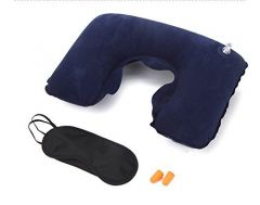 Three Tourists Treasures - Includes 2 Anti-Noise Earplugs, Superfine Inflatable Travel Pillow and Eye Mask