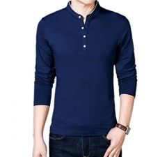 Fashion Gallery Men's Full Sleeves Cotton T-shirt|Mandarin Collar T-shirts for Men|Regular Fit Cotton T-shirt for Men-Navy Blue (Large)