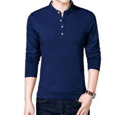 Fashion Gallery Men's Full Sleeves Cotton T-shirt|Mandarin Collar T-shirts for Men|Regular Fit Cotton T-shirt for Men-Navy Blue (Medium)
