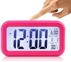 Nilkanth Fashion Digital Smart Backlight Battery Operated Alarm Table Clock with Automatic Sensor Date & Temperature for Indoor and Outdoor (Multi)