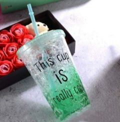 XINGLI Frosty Mug for Drinks, Cocktails and Beverages with lid and Straw , Plastic Mug (450 ml, Green)