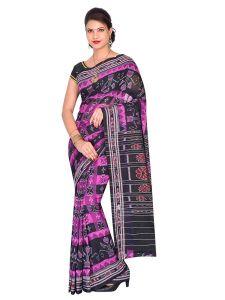 Hyko Handloom Womens Maniabandhi Sambalpuri Ikat Cotton Saree -  Black/ Pink