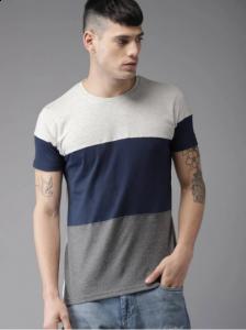 Three Multicoloured Blocked Round Neck Cotton Half Sleeves Men's T-Shirt