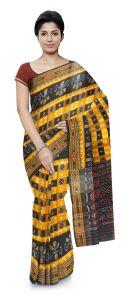 Hyko Handloom Womens Maniabandhi Sambalpuri Ikat Cotton Saree -  Black/ Yellow
