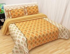 Tanishkam Décor Choki Dhani Cotton Double Bedsheet with 2 Pillow Covers Printed Design