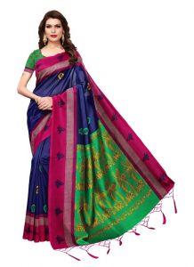 Women's Fashionble & Stylish Silk Saree (Blue   5.5-6mtrs)