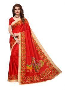 Women's Stylish & Comfortable Silk Saree (Red | 5.5-6mtrs)
