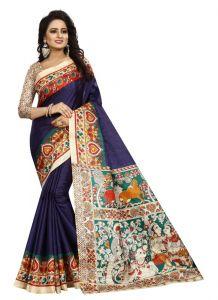 Women's Fashionble & Stylish Silk Saree (Navy, 5.5-6mtrs)