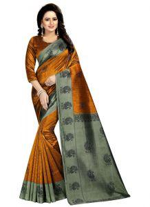 Women's Fashionble & Stylish Silk Saree (Golden/Green   5.5-6mtrs)