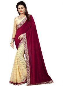 Women's Fashionble & Stylish VelvetSaree (Red | 5.5-6mtrs)
