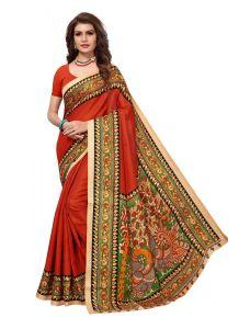 Women's Stylish & Comfortable Silk Saree (Orange | 5.5-6mtrs)