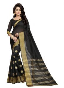 Women's Stylish & Comfortable Cotton Saree (Black | 5.5-6mtrs)