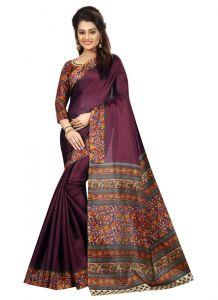 Women's Fashionble & Stylish Silk Saree (Wine, 5.5-6mtrs)