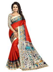 Generic Womens Silk Saree(Red, 5.5-6mtrs)