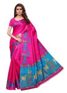 Women's Stylish & Comfortable Khadi Saree (Pink | 5.5-6mtrs)