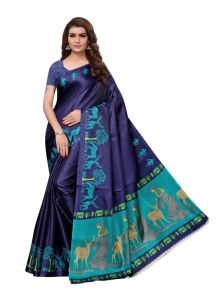 Women's Stylish & Comfortable Khadi Saree (Blue | 5.5-6mtrs)