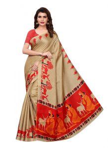 Women's Stylish & Comfortable Khadi Saree (Beige | 5.5-6mtrs)