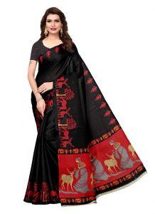 Women's Stylish & Comfortable Khadi Saree (Black | 5.5-6mtrs)