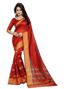 Women's Stylish & Comfortable Cotton Saree (Red | 5.5-6mtrs)
