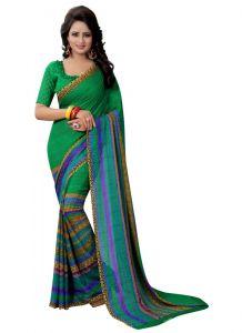Women's Fashionble & Stylish Georgette Saree (Green | 5.5-6mtrs)
