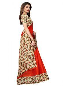 Women's Fashionble & Stylish Khadi Saree (Red | 5.5-6mtrs)