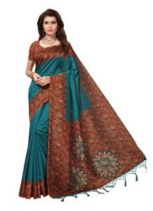 Women's Fashionble & Stylish Silk Saree (Turquoise | 5.5-6mtrs)