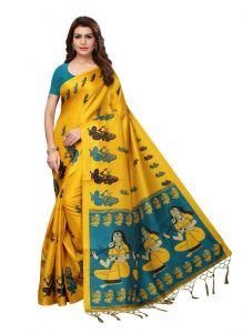 Generic Womens Silk Saree(Yellow   5.5-6mtrs)