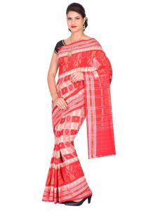 Hyko Handloom Womens Maniabandhi Sambalpuri Ikat Cotton Saree -  Red/ White