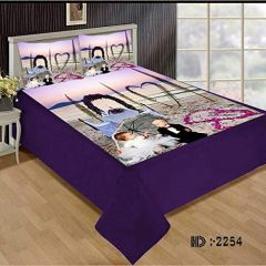 Tanishkam Décor Digital Printed Velvet King Size Double Bedsheet with 2 Pillow Covers (90x100) Kids Couple Design