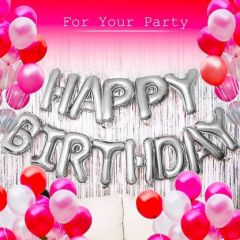 Boxerdoll Solid Party Metallic Balloon of 3 Colors Red, White & Pink & HAPPY BIRTHDAY (Pack of 63) Letter Balloon (Pack of 64)
