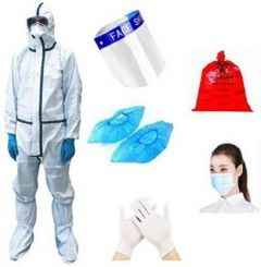 Boxerdoll Personal Protective Equipment Kit (Face Shield,Impermeable Surgical Gown/Overall, Gloves, 3Ply Face mask, Shoe Cover, Bag) | (White)