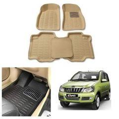 After Cars Cream Carpet Floor/Foot 4D Mats,for Mahindra Quanto