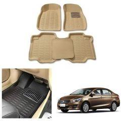 After Cars Cream Carpet Floor/Foot 4D Mats for Maruti Suzuki Ciaz Old
