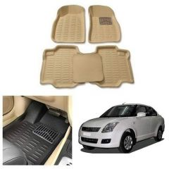 After Cars Cream Carpet Floor/Foot 4D Mats for Maruti Suzuki Swift Dzire 2009
