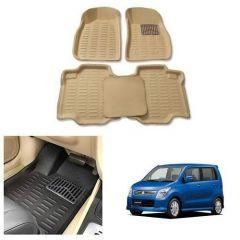 After Cars Cream Carpet Floor/Foot 4D Mats for Maruti Suzuki Wagon R 2015